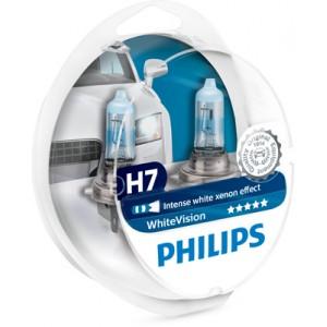 Λάμπες Philips H7 White Vision 12V 55W 3700K 60% Περισσότερο Φως + 2 W5W 12972WHVSM